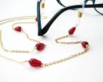 Cherry Red Eyeglass Chain, Gold Chain Reading Glasses Holder, Crimson Teardrop Sunglasses Lanyard, Garnet Red Glass, Handmade, Lancaster