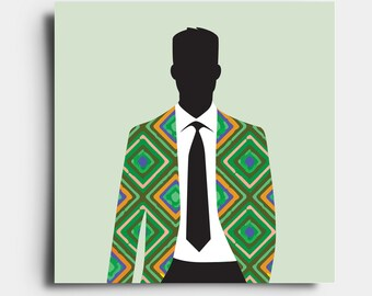 African Print Gent - Greetings Card - Green