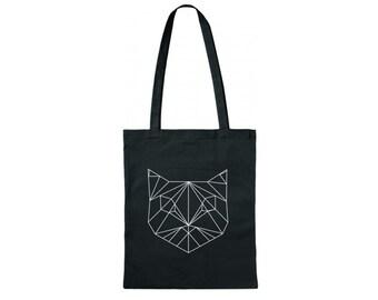 Spedizione gratuita Handbedruckter sacchetto di cotone/Baumwollttasche/Jutebeuel/juta con motivo geometrico gatti bianco/nero / 38 x 42