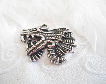 1 medieval dragon pendant antique silver metal.
