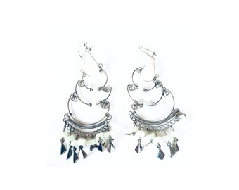 White Beaded and Silvertoned Chandelier Earrings