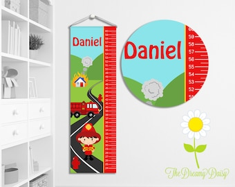 Personalized Firefighter Growth Chart for Kids - Custom Boys' Growth Chart w/ Name - Hanging Wall Height Chart - Fire Truck Kids' Room Decor