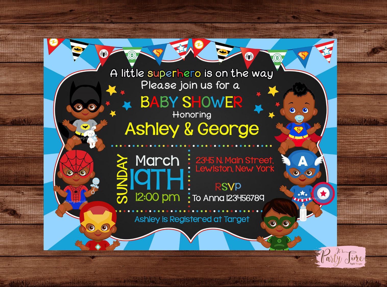 African American Superhero Baby Shower Invitation Superhero