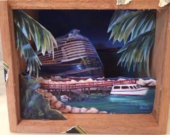 Ride to Paradise- Dream, shadow box, upcycled, cigar box, cruise ship, castaway cay