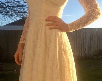 Vintage Wedding Dress - Cream Lace Dress - 1950s Wedding Dress - Original Wedding Dress - Waterfall Wedding Dress - Size UK 6 - 50s Dress