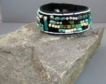 Leather turquoise bracelet, mans beaded turquoise and silver bracelet, tribal bracelet, free form beaded bracelet, turquoise and bone
