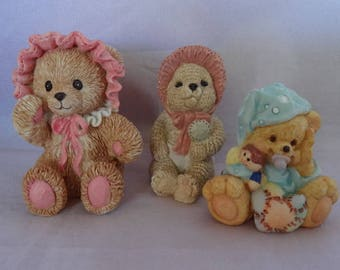 Set of Three Darling Baby Teddy Bears with Rattles and Pacifiers