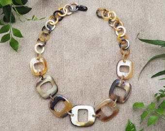 Natural Buffalo Horn Necklace Short Jewelry