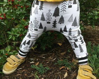 Monochrome Tree Baby + Toddler Harem Pants/ Leggings