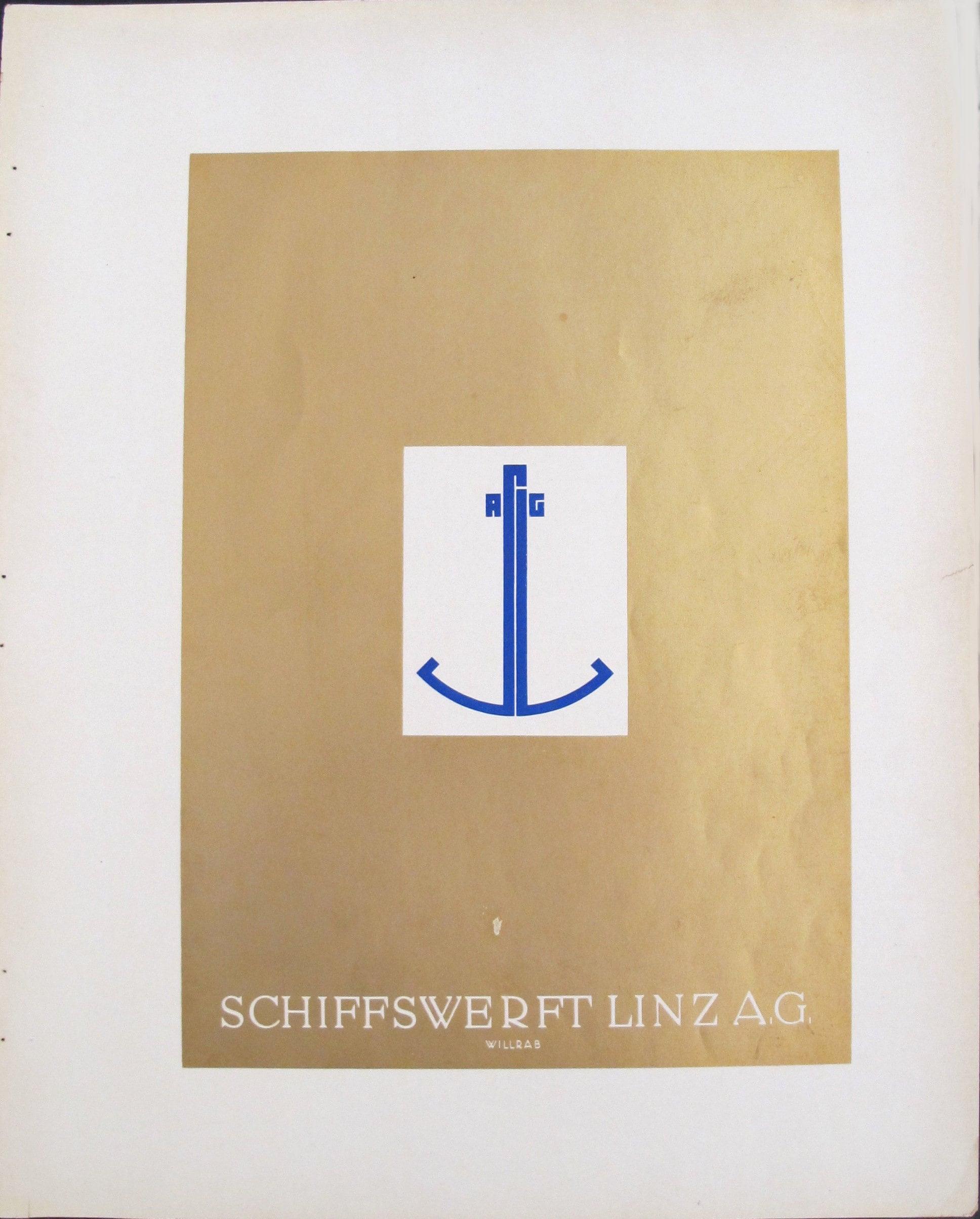 1923 Julius Klinger Gold Art Deco Poster German Shipyard