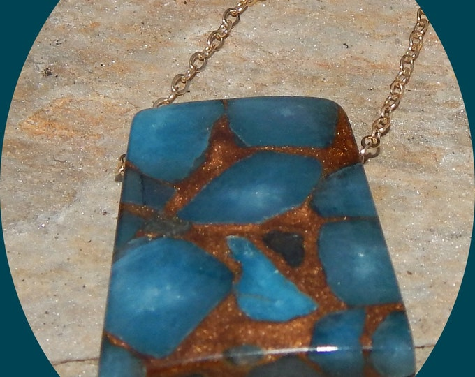 "Featured listing image: Beautiful Trapeziod Golden Aqua Aura Quartz Pendent on a 14K Gold Vermiel 20"" Chain"
