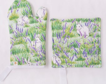 Bunny and Lavender Oven Mitt/Pot Holder Combo