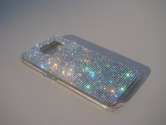 Galaxy S6 Clear Diamond Crystals on Transparent Case. Velvet/Silk Pouch Bag Included, Genuine Rangsee Crystal Cases.