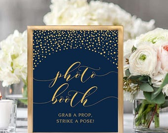 Wedding Photo Booth Sign, Grab A Prop Strike A Pose, Photo Booth Sign Printable, Printable Wedding Sign, Gold Confetti, Navy Blue, #GC01