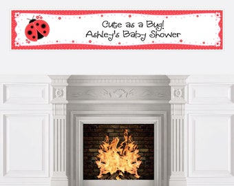 Ladybug Personalized Banner - Baby Shower Banner Decorations - Custom Birthday Party Banner - Personalized Ladybug Party Decorations