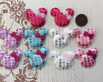 SET of 20 ASSORTMENT Sequin Padded Mouse Heads with Bow Appliques/Mickey/Minnie/cards/trim/hair bows/embellishments