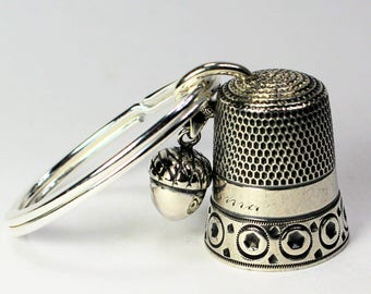Antique Thimble and Acorn Peter Pan Kisses Key Ring in Sterling Silver