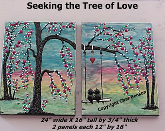 Swinging Lovebirds Original Tree Painting Contemporary Art Canvas Modern Art Heavy Textured Canvas Painting Wall Decor Abstract Painting