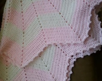 """Crochet pink and white star baby girl blanket 40"""" found w/hat"""