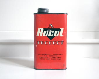vintage red rocol oil can