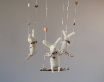 White Needle  Felted Bunny Mobile, White Bunnies on swings
