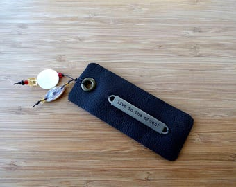Leather Bookmark with 'Live in the Moment' Tag