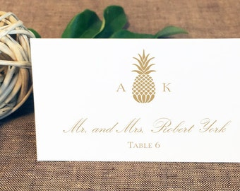 Printed Pineapple Monogram Wedding Place Cards, Tented Pineapple Place Cards, Tropical Place Cards, Hawaiian Place Cards, Gold Pineapple