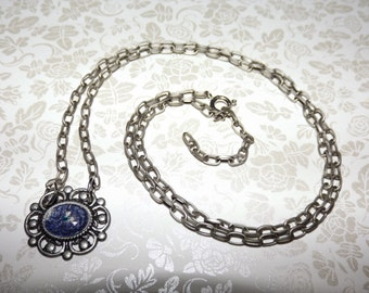 Antiqued Metallic Sapphire Marble Necklace