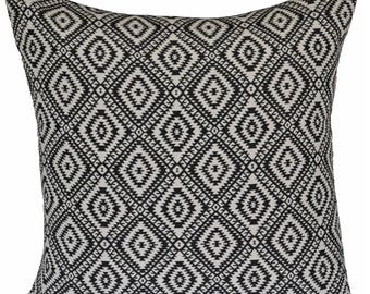 "Black Ivory Cushion Cover Retro Aztec 50cm 60cm Cotton Indian Handmade 20"" 24"""