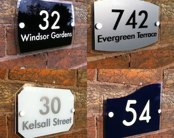 Personalised Modern House Sign Door Number Street Address Acrylic Plaque
