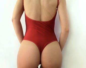 One piece swimsuit / Dark red swimsuit / open back swimsuit / Womens swimwear / Thong bikini / bathing suit / sexy swimsuit