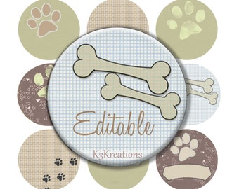 Dog Bones & Puppy Paws 1 Inch - Editable Digital Collage Sheet   Printable Instant Download jewelry-craft - bottlecap