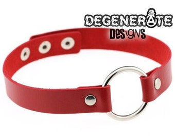 Punk Red Leather O Ring Bondage Fetish Collar Choker Vegan