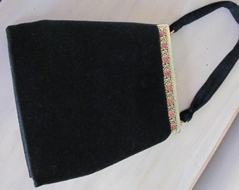 Vintage French Designer DA'LON Black Lambs Wool Evening Bag With Gold Tone Filigree Frame Mint