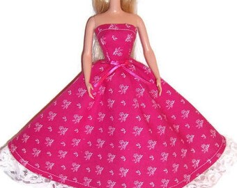 Fashion Doll Clothes-Magenta Floral Strapless Dress