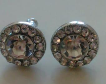 Silver Layered Rhinestone Stud Earrings