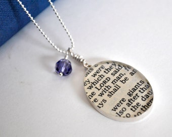 Bible Necklace - Recycled Book Jewelry - Giants in Sterling Silver - Quote Necklace