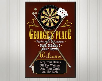 Personalized Game Room Bar Sign, Burgundy or Green Man Cave Pub Sign, Custom Beer Sign, Man Cave Bar Decor