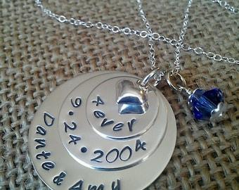 Valentine Necklace, Anniversary Necklace, Custom Marriage Anniversary Necklace, Necklace Gift For Wife, Wedding Date Necklace, Hand Stamped
