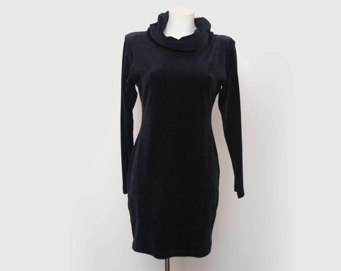 Vintage long sleaved loose turtleneck elastic corduroy black dress deadstock