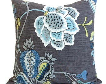 Jacobean French Country Cottage Pillow Teal Aquamarine Blue Yellow Charcoal Gray Cushion Cover Decorative Floral Decor Chair Sofa Lumbar