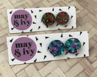 You Had Me At Glitter Stud Earrings - Choose Colour