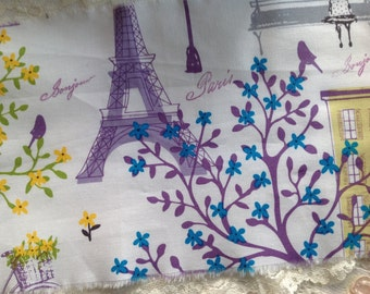 Spring in Paris Extra Wide Hand Stamped Fabric - bonjour - merci - Paris - Whimsical - Bicycle - Park Bench - Birds & Trees - French Market