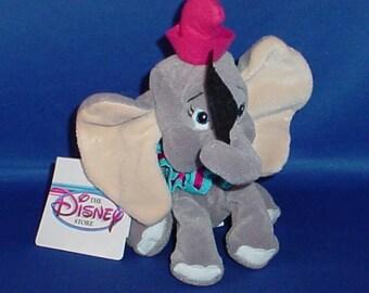 Disney Vintage Dumbo Bean Bag Plushie with Acrylic Case
