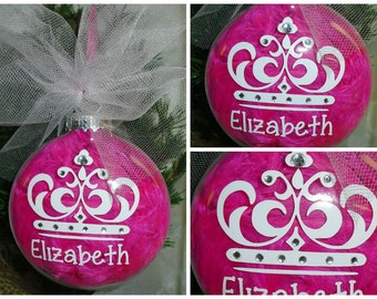 Princess Christmas Ornament; Personalized Princess Ornament; Custom Crown Ornament; Gifts For Girl,  Crown Ornament