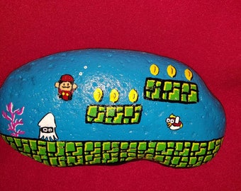 Super Mario brothers water hand painted river rock