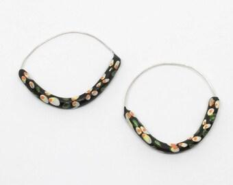 Black porcelain floral print  hoop earrings sterling silver large