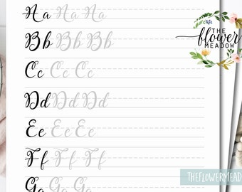 Printable Brush Lettering Worksheets Tutorial Learn Calligraphy Hand Guide Alphabet Practice 12