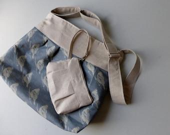 Blue Bird Linen Bag & Wristlet SET- 2 Pc - Adjustable Strap - 7 Pockets - Key Fob