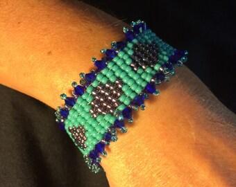 Number 33 Hand woven box bead bracelet. Maine Artist